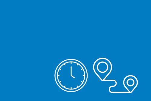 Znak zegara oraz trasy przejazdu