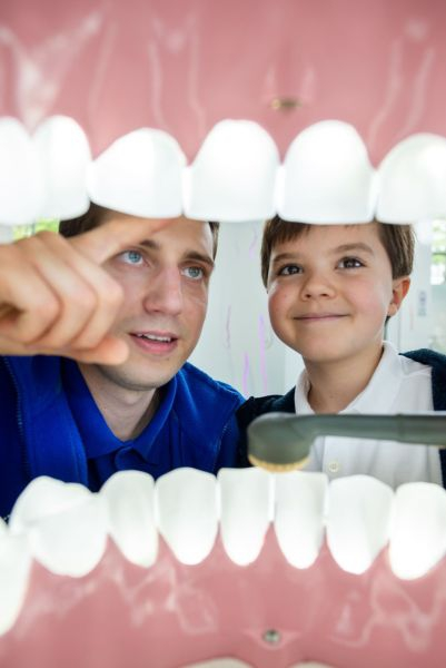 Edukator wskazuje małemu chłopcu model szczęki. Kadr wykonany z perspektywy wnętrza jamy ustnej.