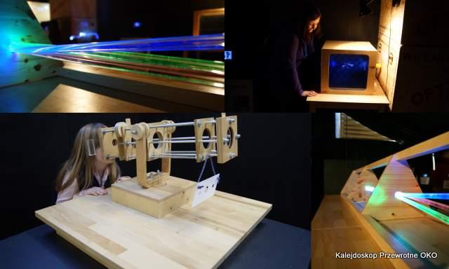 Kolaż zdjęć z drewnianymi przyrządami optycznymi.