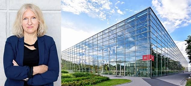 Po lewej Alicja Harackiewicz, dyrektor EXPERYMENTU. Po prawej zdjęciu budynku CNE z zewnątrz