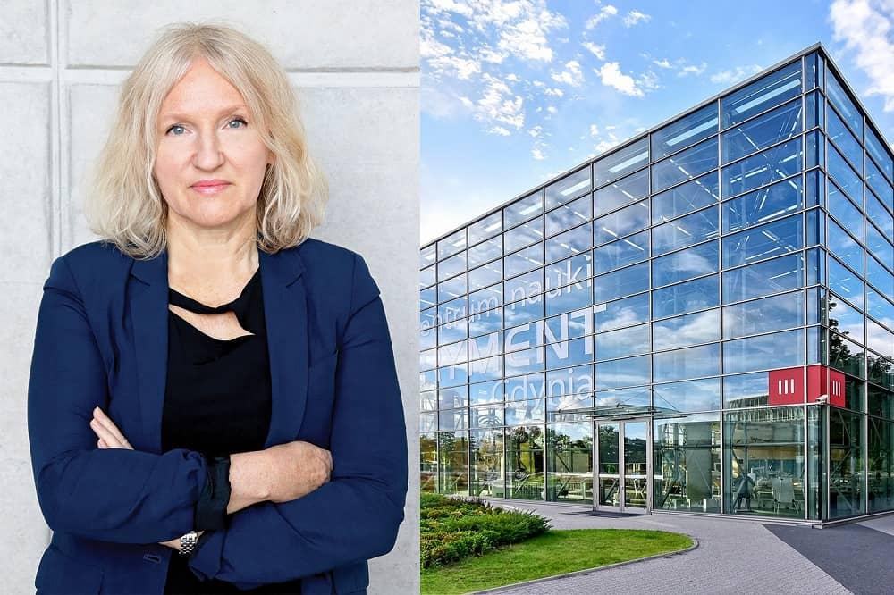 Zdjęcie Alicji Harackiewicz, obok zdjęcie budynku Experymentu